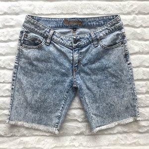 LF Carmar Acid Wash Cut Off Biker Jean Shorts